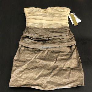 NWT Nicole Miller Gold Sequin Strapless Mini Dress